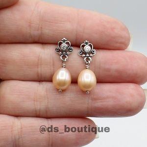 Pandora Rose freshwater pearl drop earrings